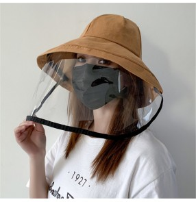 Anti-saliva virus fisherman hat with face shield for adult full face protect mask sunscreen cap