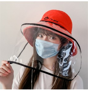 Anti spit saliva splash fisherman's cap for women with face shield Protective cap isolated dust smiley chain hat