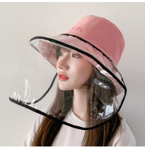 anti-spitting droplet fisherman hat with face shield dust-proof double side sunscreen hats for women