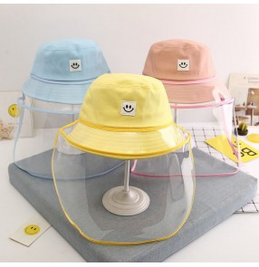 Anti spitting droplet fisherman's cap for kids with clear face shield dust proof safety protect sun cap for children