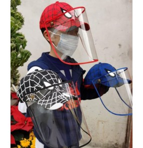 anti-spitting outdoor baseball cap with face shield for boy dust virus proof cartoon sun cap