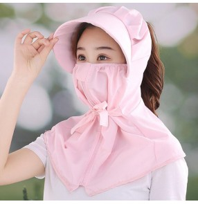 Anti-spitting outdoor sunscreen hats with mask for women riding summer mouth cover sun protection visor cap