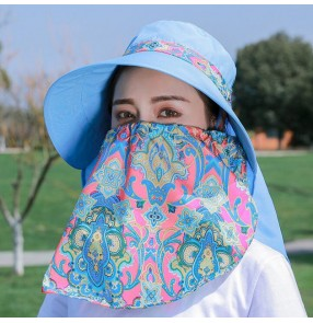 anti-spitting with face mask sunscreen hat dust proof outdoor beach hats for women