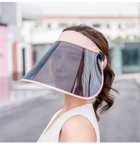 Anti-spray breathable riding cap with face shield for women antivirus anti UV visor cap