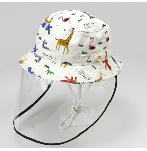 anti-spray kids fisherman's cap with detachable face shield dustproof sunscreen protective cap for baby