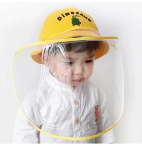 Anti-spray saliva baby cotton fisherman's cap with clear face shield outdoor safety protective hat for kids
