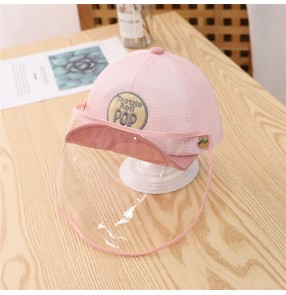 Anti-spray saliva baseball cap with face shield for kids baby outdoor breathable dust proof sunscreen protective hat for children