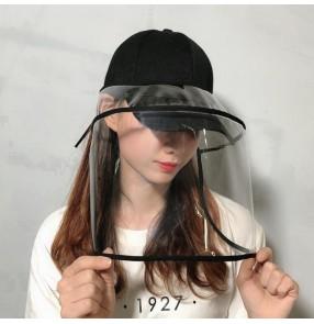 Anti-spray saliva baseball hats with face shield for women dust splash virus proof suncap peaked cap