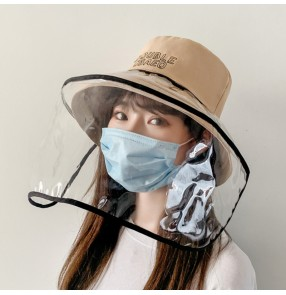 Anti spray saliva bucket fisherman hat with face shield dust proof sunscreen cap for women