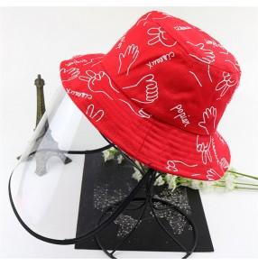 anti-spray saliva Children cartoon fisherman's cap with face shield dust proof protective sun cap