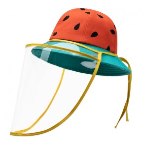 anti-spray saliva cotton fisherman's cap for kids baby watermelon pattern with face shield dust proof sunscreen protective hat for children