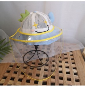 Anti-spray saliva direct splash baby fisherman's cap with clear face shield outdoor sunscreen dustproof protective cap for children