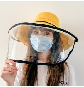 Anti-spray saliva direct splash fisherman's cap with clear face shield for women dust sunscreen protective hat for female