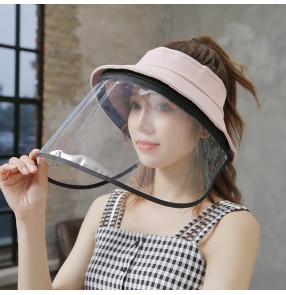 Anti-spray saliva direct splash visor cap with clear face shield summer sunscreen protective hat for unisex