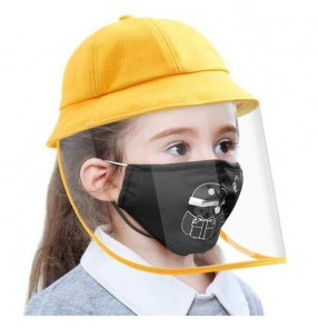 Anti-spray saliva direct splash yellow fisherman's cap with clear face shield for kids protective sun hat for boy girls
