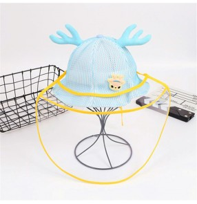 anti-spray saliva droplet  Kids baby fisherman's cap with clear face shield sunscreen breathable protective hat for children