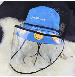 Anti-spray saliva face shield cotton fisherman's cap for kids boys girls outdoor sunscreen dust proof protective hat