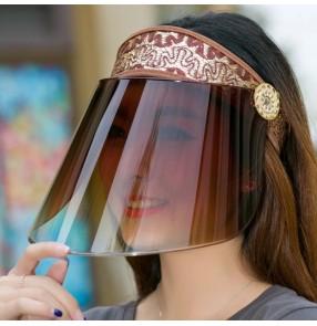 Anti-spray saliva face shield dust proof riding anti UV sunscreen visor sun cap for women