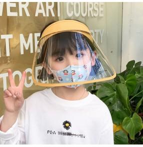 Anti-spray saliva face shield visor cap for kids children dust proof sunscreen protective cap for girls and boys