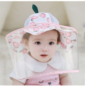 Anti-spray saliva fisherman's cap for baby toddlers with face shield dust virus proof face shield sunscreen protective cap for children