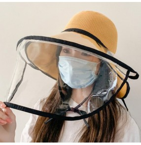 Anti-spray saliva fisherman's cap for women with clear face shield safety protect outdoor sun hat for female