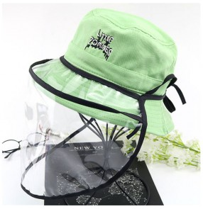 Anti-spray saliva fisherman's cap with face shield for kids virus dust proof outdoor sunscreen protective hat for boy