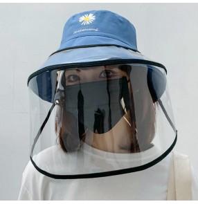 Anti- spray saliva fisherman's cap with pvc clear face shield for women dustproof outdoor sun hat