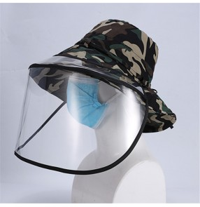 Anti-spray saliva fisherman's hat for men with clear face shield outdoor sunscreen dust virus proof protective hat for male