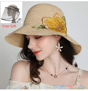 anti-spray saliva flowers Nature straw fashion fisherman's hat with clear face shield for women beach summer protective sun hat for female