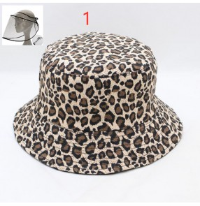 Anti-spray saliva leopard fisherman's cap with face shield for unisex outdoor sunscreen protective hat for men and women