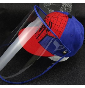 Anti-spray saliva outdoor baseball cap for boy kids with face shield dust virus proof sun peaked cap