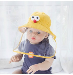 Anti-spray saliva outdoor fisherman bucket hat for baby toddlers dust proof safety protective sun cap