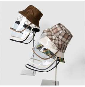 anti-spray saliva outdoor plaid fisherman's cap with clear face shield for women and men dust proof protective sun hat for unisex