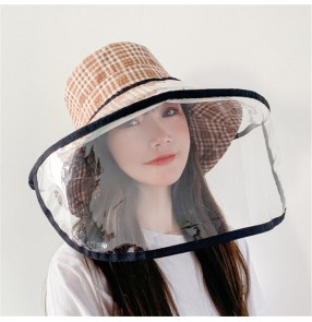Anti-spray saliva outdoor plaid fisherman's cap with clear face shield for women dust virus proof sunscreen protective hat