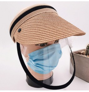 Anti-spray saliva outdoor straw visor cap with clear face shield for women and men dust virus proof sunscreen cap