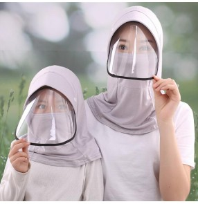 Anti-spray saliva outdoor sunscreen hat with face shield full mouth cover mask dust proof safety protection hat