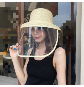 Anti-spray saliva straw fisherman's cap with clear face shield for women dust proof sunshade safety protective sun hat