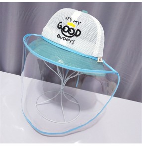 Anti-spray saliva with face shield fisherman's cap for baby kids outdoor summer breathable sunscreen protective hat for boys girls