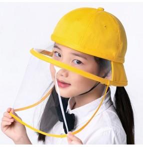 Anti-spray saliva yellow fisherman's cap with detachable face shield for kids direct splash proof school protective sun hat for boy girls