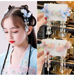 Antiquity Children's Chinese fairy princess Hanfu butterfly headdress Tassel Hair Ornaments Girls Baby Hairpins Chinese Style Hair accessories