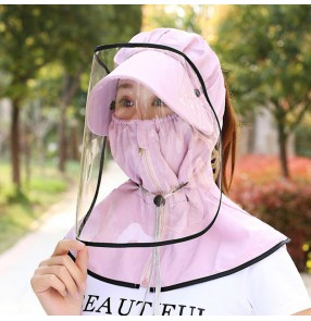 Antivirus spray saliva outdoor protect hat with full face cover clear face shield and sunscreen dust proof mouth mask cap for girls and women