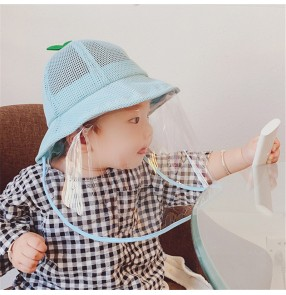 Baby anti-droplet spray saliva fisherman's cap with face shield for kids dust proof summer breathable safety protect hat for children
