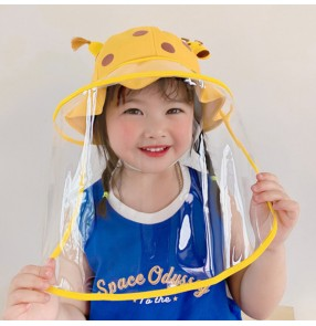 baby anti-spray saliva cartoon fisherman's cap with clear face shield for kids anti-droplet safety protective hat for boys girls
