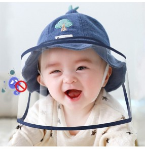 Baby anti-spray saliva droplet outdoor cotton fisherman's cap with clear face shield dust proof protective sun hat for kids