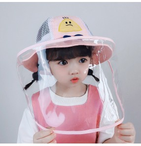 baby Anti-spray saliva summer fisherman's cap with clear face shield sun protection outdoor protective hat for kids