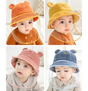 Baby fisherman's hat with TPU face shield autumn and winter infant child protection anti-droplet kids cartoon fisherman hat