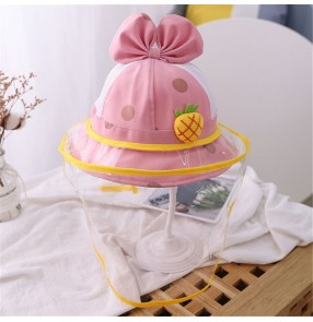 Baby kids anti-spray saliva bowknot fisherman's cap with clear face shield sunscreen protective cap for children girls
