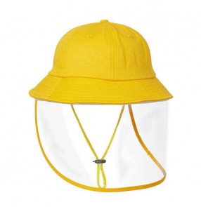 Baby kids kindergarten anti-spray saliva direct splash yellow fisherman's cap with clear face shield outdoor sunscreen safety protect hat for children
