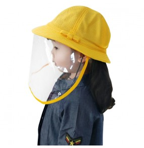 Baby kindergarten kids anti-spray saliva fisherman's cap with face shield antivirus summer breathable protective hat for boy and girls
