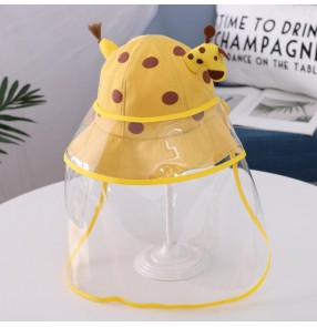 Baby outdoor sunhat with safety face shield dust proof anti-spitting virus giraffe cartoon sun hats for children